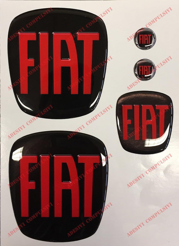 effetto 3D GRANDE PUNTO logo anteriore Per cofano e baule Fregi colore Nero-Rosso posteriore volante Adesivi resinati 2 stemmi per portachiavi