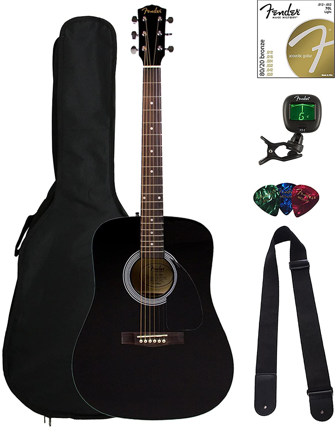 Amazon Fender Fa 100 Dreadnought Acoustic Guitar Black Bundle