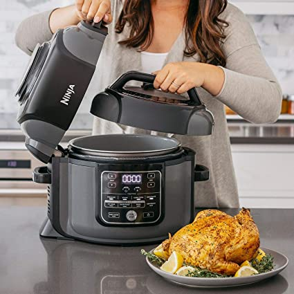 Ninja OP305 Foodi 6.5 Quart Pressure Cooker That Crisps, Steamer & Air Fryer with TenderCrisp Technology Multi-Cooker and Fryer All-in-One