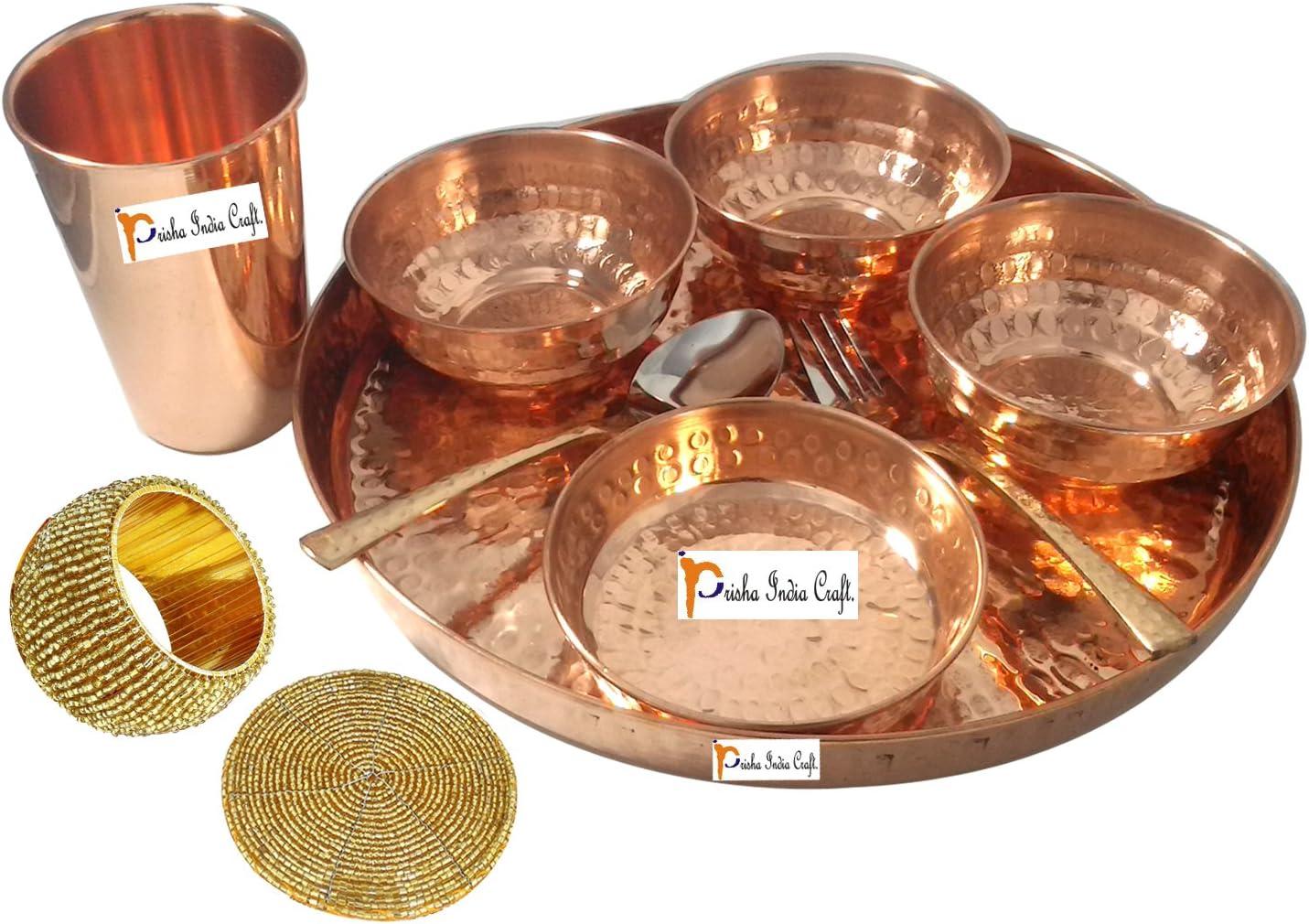 Dinnerware Pure free shipping Copper Thali Set Dia 12 Long-awaited
