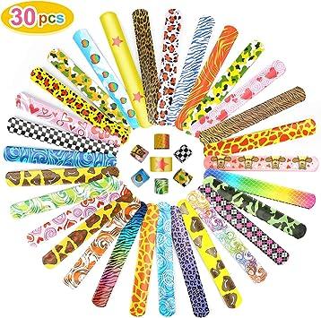 Ucradle Pulsera Bofetada, 30 Piezas Slap Pulsera, Slap Bracelets, Snap Pulsera, Banda de Pulsera, Fiesta Juguetes de Infantil Rellenos de Bolsa de Fiesta para niños niñas (30pcs): Amazon.es: Juguetes y juegos