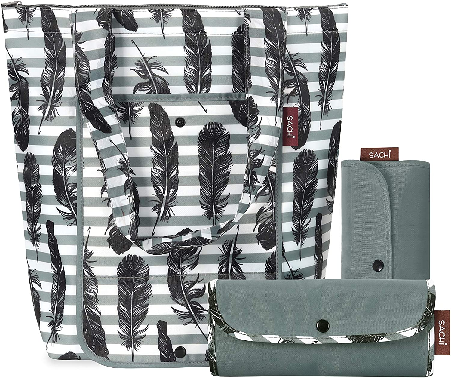 SACHI 3 Piece Market Totes Set - Insulated Grocery Bags For Cold and Hot Foods - Durable, Kitchen Reusable Grocery Bags - Durable, Insulated Thermal Bags Grey Feather Stripes