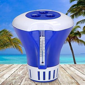 37704c4440873f Doseur flotteur de chlore ou brome pour piscines pastilles Ø 17cm bleu-blanc