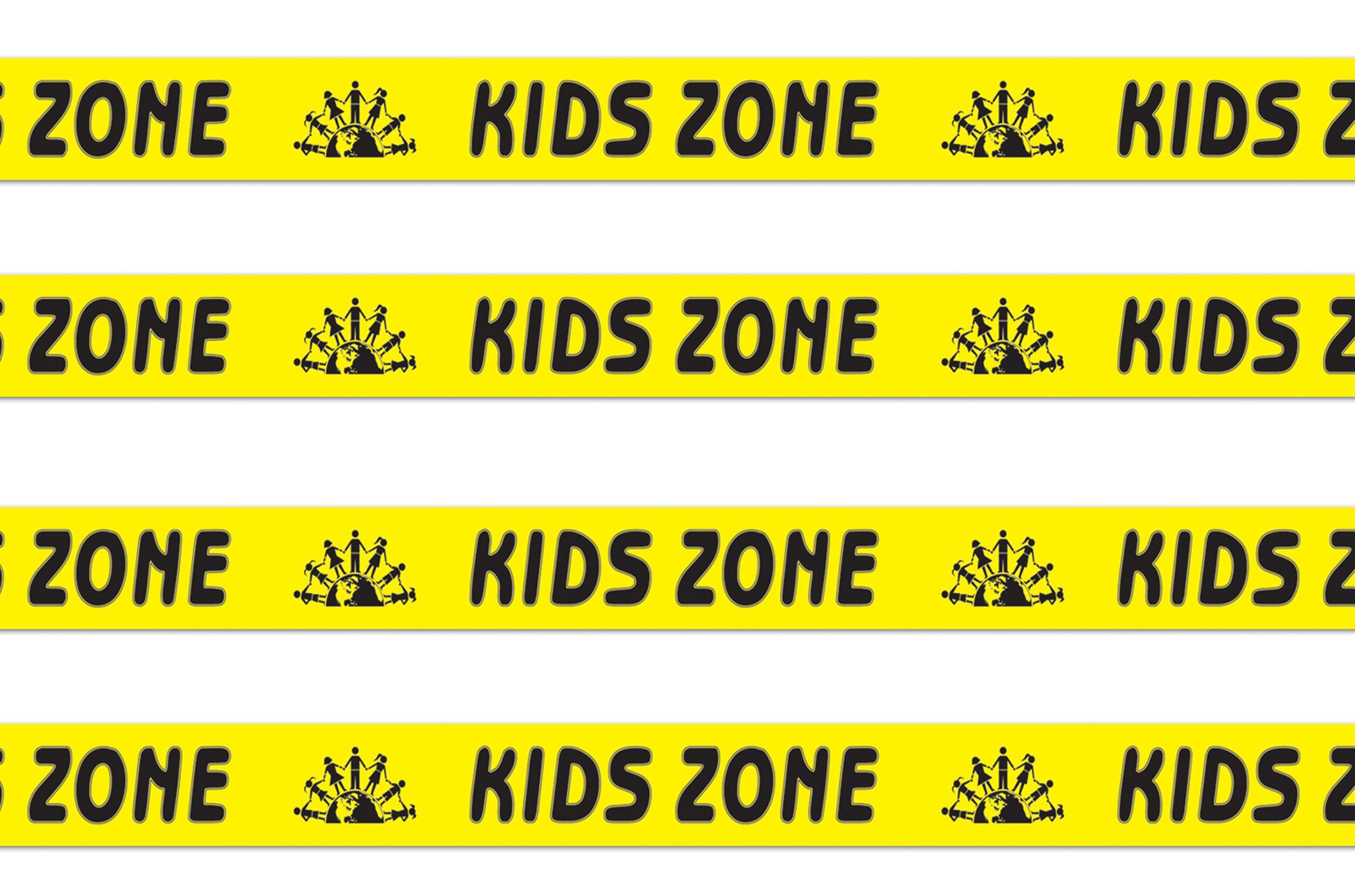 Beistle S66105AZ4, 4 Rolls Kids Zone Party Tape, 3'' x 20'