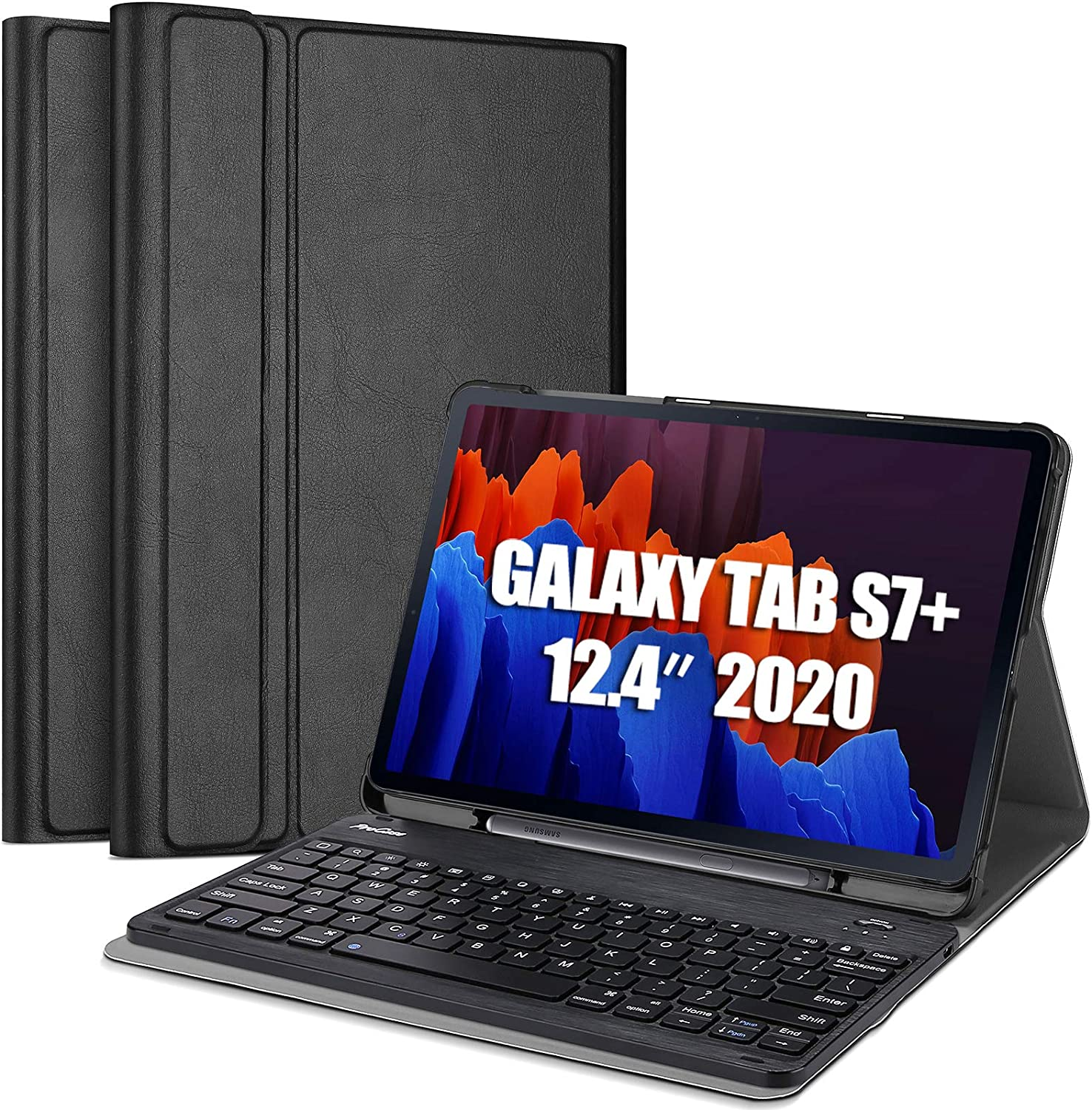 ProCase Galaxy Tab S7 Plus Keyboard Case 12.4 inch 2020 (Model SM-T970/T975/T976) with S Pen Holder, Lightweight Smart Cover with Magnetically Detachable Wireless Keyboard for Galaxy Tab S7+ -Black