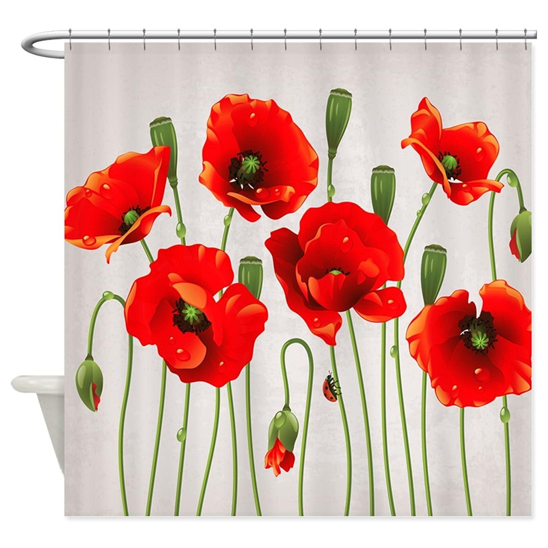 Amazon Chilen Red California Poppies Shower Curtain 48x72 Home Kitchen