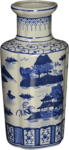 Oriental Furniture 12 Landscape Blue White Porcelain Vase