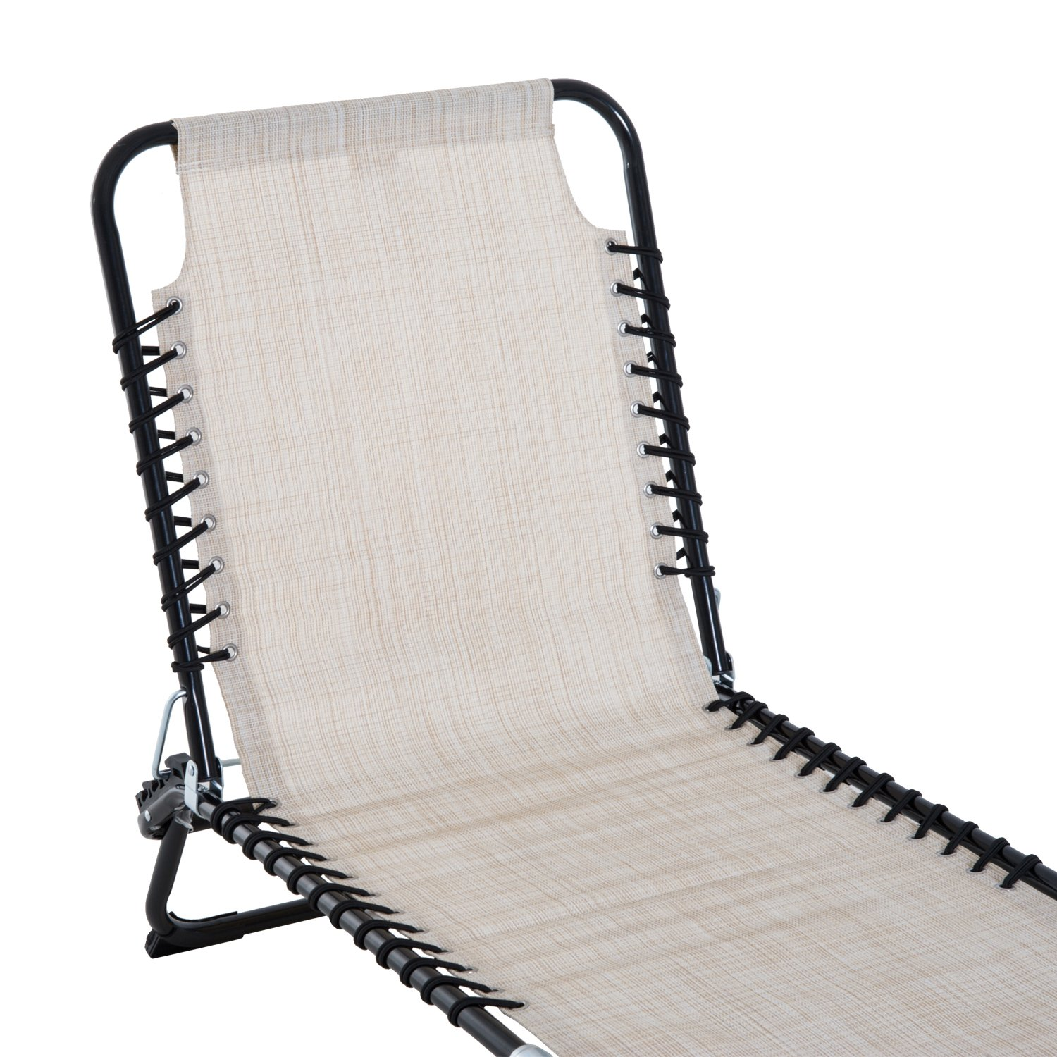 Outsunny 3-Position Reclining Beach Chair Chaise Lounge Folding Chair - Cream White by Outsunny (Image #9)