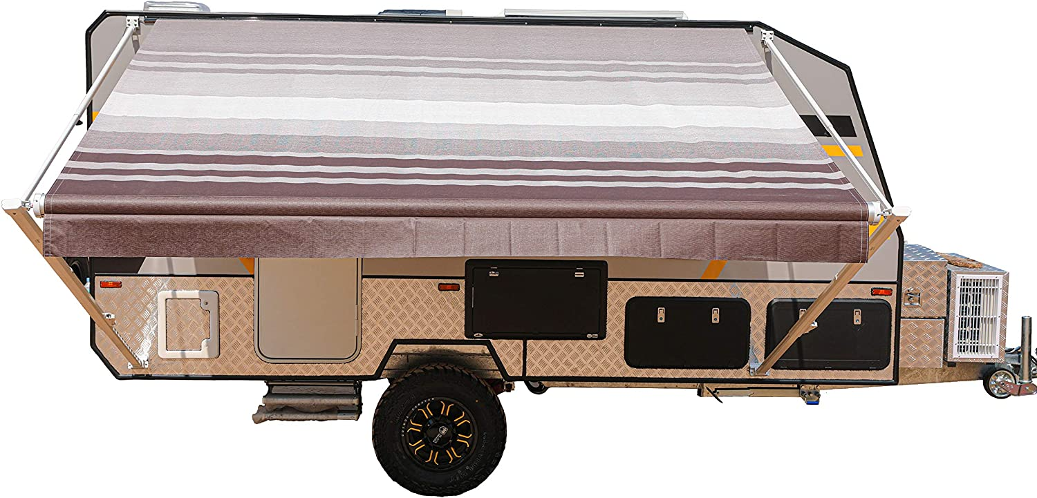 ALEKO Manual Retractable RV Trailer Awning for Home or Camper- 16x8 Ft - Brown Stripes