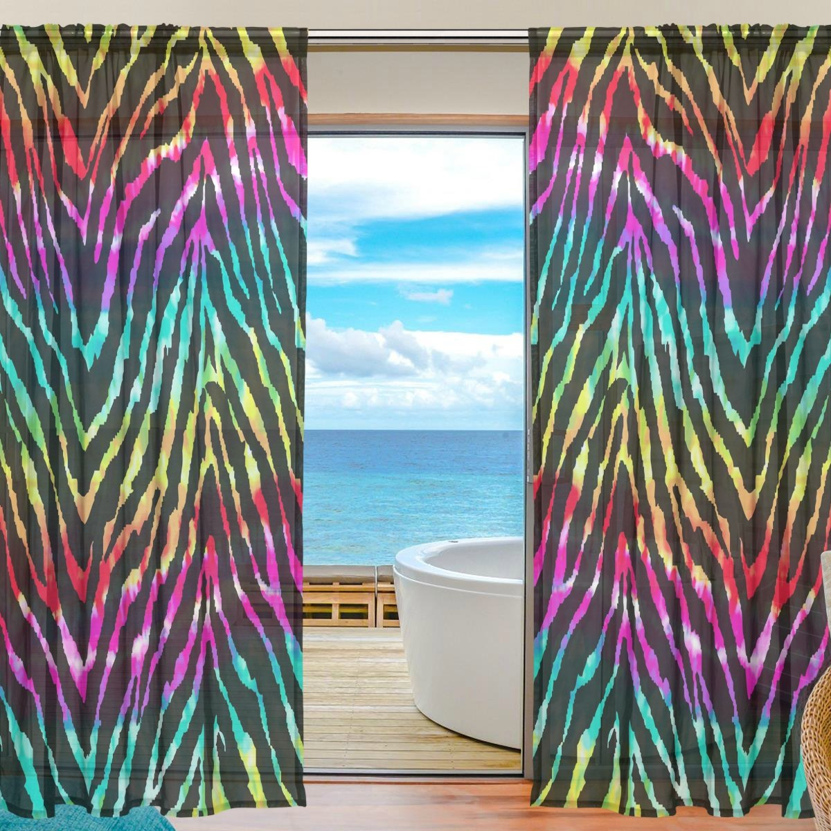 SEULIFE Window Sheer Curtain Zebra Animal Print Rainbow Voile Curtain Drapes for Door Kitchen Living Room Bedroom 55x78 inches 2 Panels