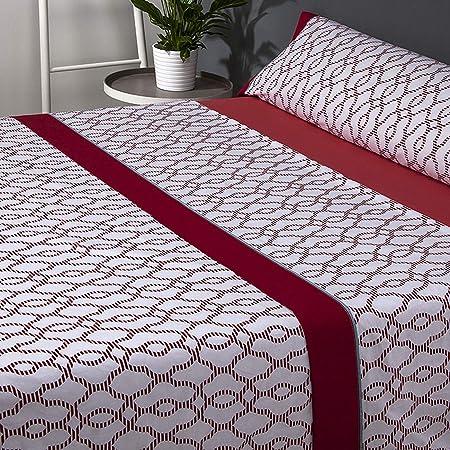 Mora - Juego de sábanas 100% Algodón G60. Cama 135 cm. Rojo ...