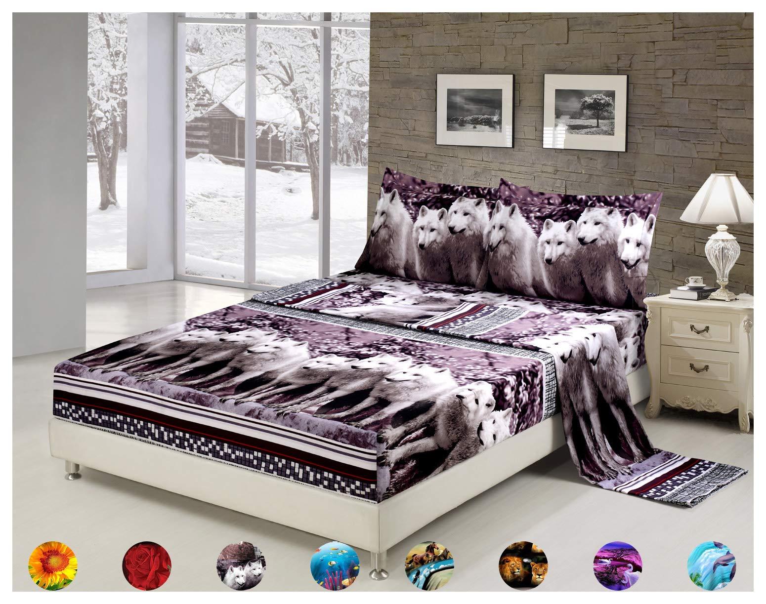 4 Piece Set Luxury 3d Print Vivid Animals Pattern Deep Pocket Bed Sheet Set (1 Flat Sheet,1 Fitted Sheet,2 Pillow Case/Pillow Sham)(Queen, Mountain Wolf)