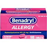 Benadryl Allergy Ultratab Tablets, 100 tablets (Pack of 2)