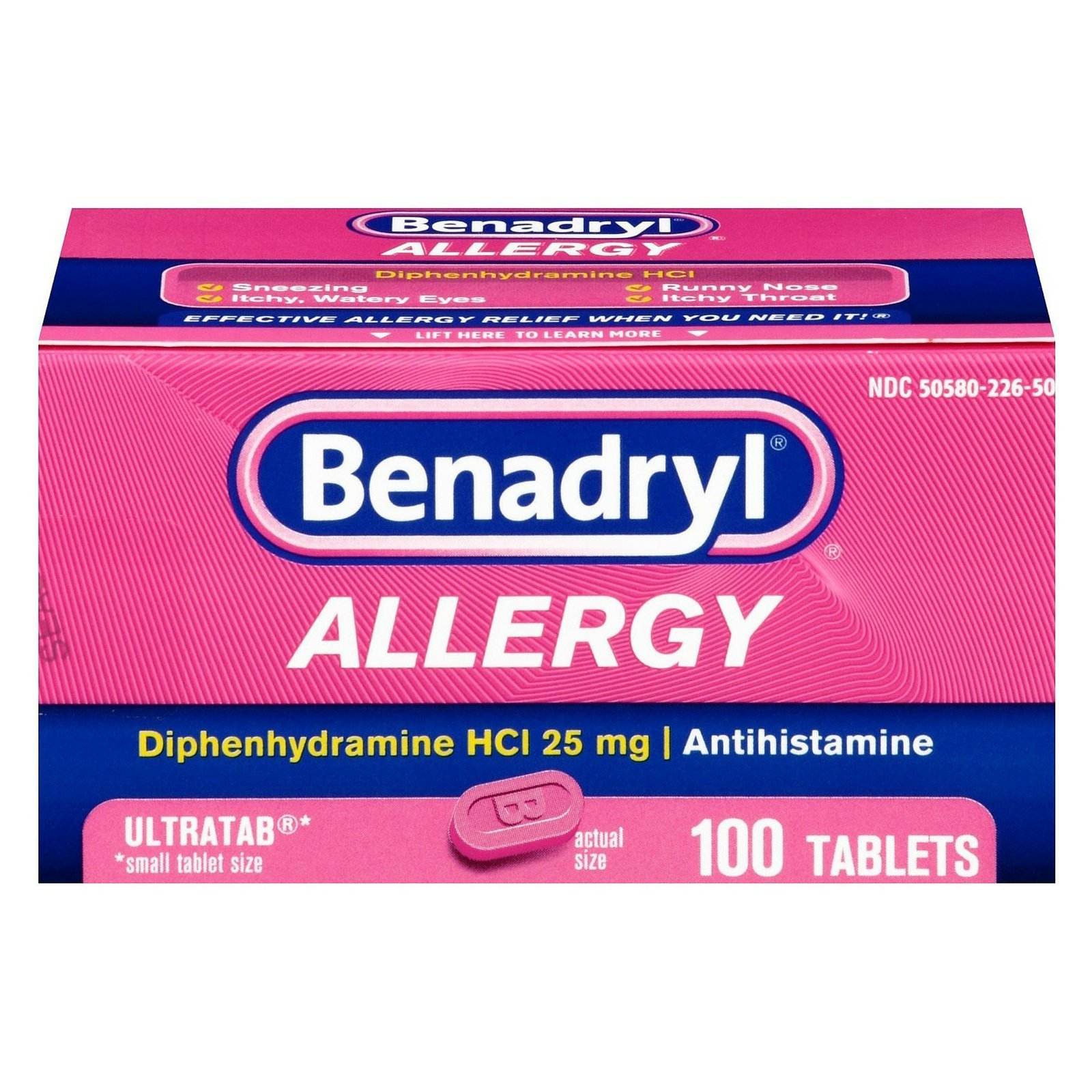 Benadryl Allergy Ultratab Tablets, 100 tablets (Pack of 2) by Benadryl