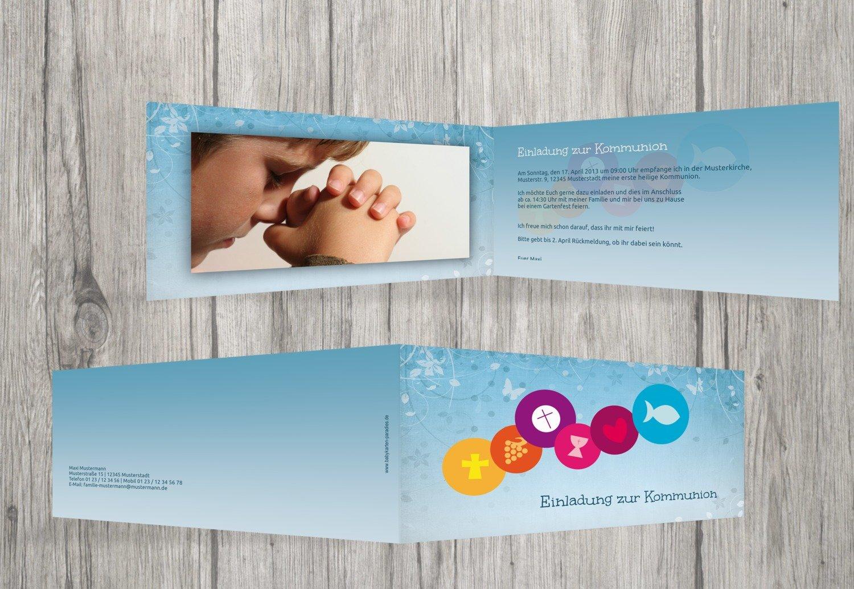 Kartenparadies Einladungskarte zur Kommunion Kommunionskarte bunte Elemente, hochwertige Einladung Einladung Einladung als Kommunionskarte inklusive Umschläge   20 Karten - (Format  215x105 mm) Farbe  MattBlau B01N6WVYAT | Hat einen langen Ruf  | Niedriger Preis  | Cr 9d788c