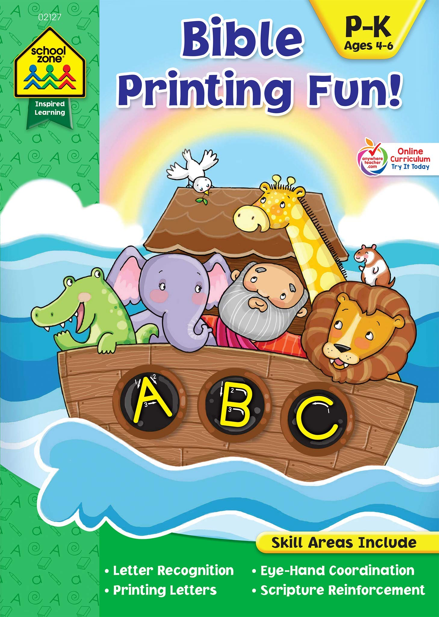 School Zone – Bible Printing Fun! Workbook – Ages, 4 to 6, Preschool to Kindergarten, Christian Scripture, Old & New Testament, Letter Recognition, and More (Inspired Learning Workbook)