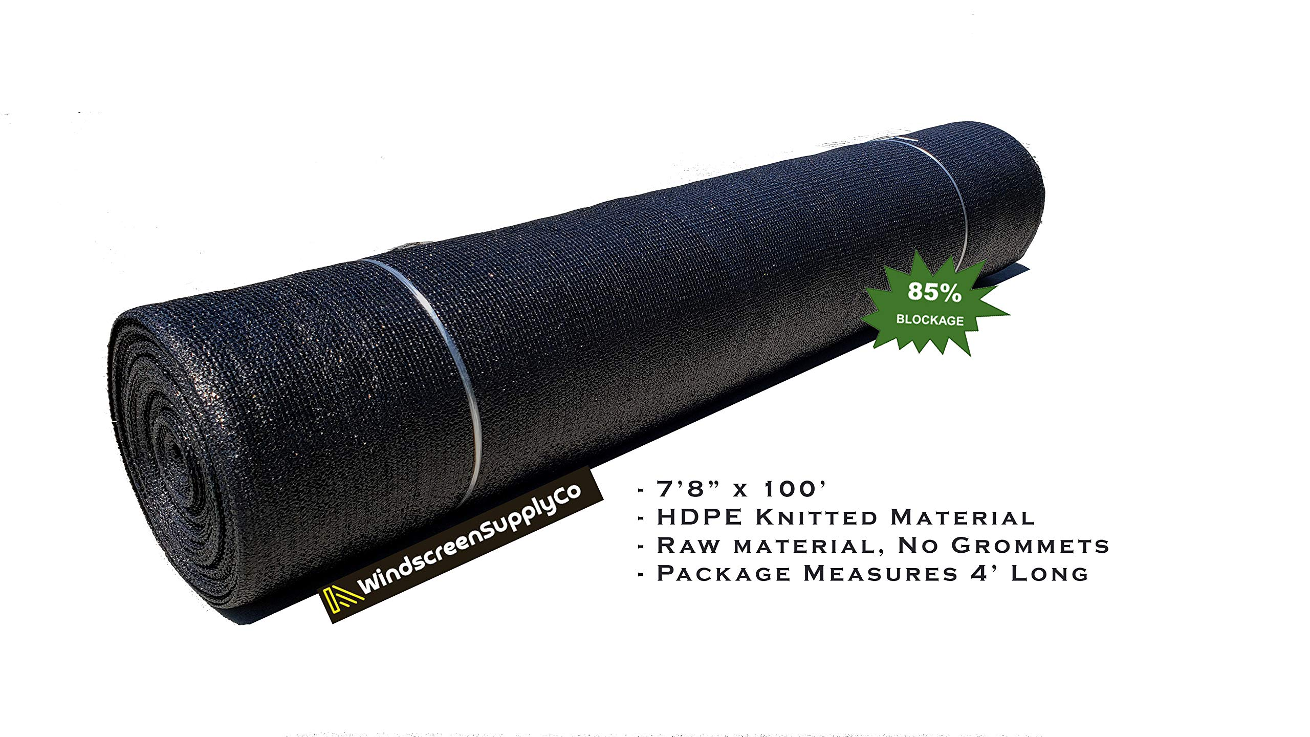 WindscreenSupplyCo 7'8'' X 100 ft. Shade Fabric Roll Sunblock Shade Cloth, 85% UV Resistant Mesh Netting Cover (1, Black) by WindscreenSupplyCo