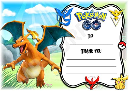 Tarjeta de cumpleaños, diseño de Charizard (Pokemon), «Thank ...