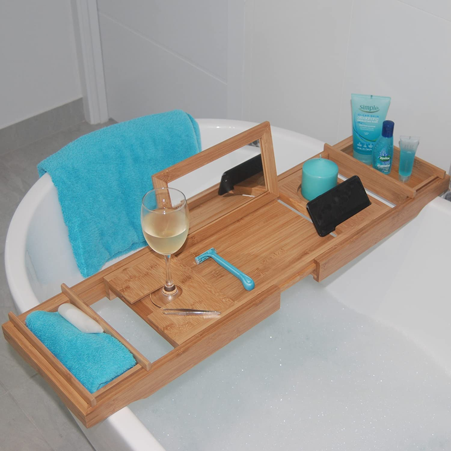 ADD A TOUCH OF STYLE TO YOUR BATHROOM - Our Luxury Bamboo Bathtub Tray / Bathtub Caddy with MIRROR also comes with Extending Non Slip Sides  Wine Glass Holder  2 Removable Storage Shelves & More !! xenjoi X-1996