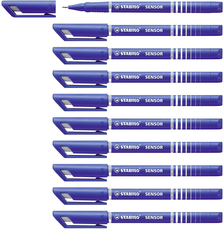 STABILO SENSOR F Tratto Fine 0,3 mm Rosso Fineliner con punta ammortizzata - Confezione da 10