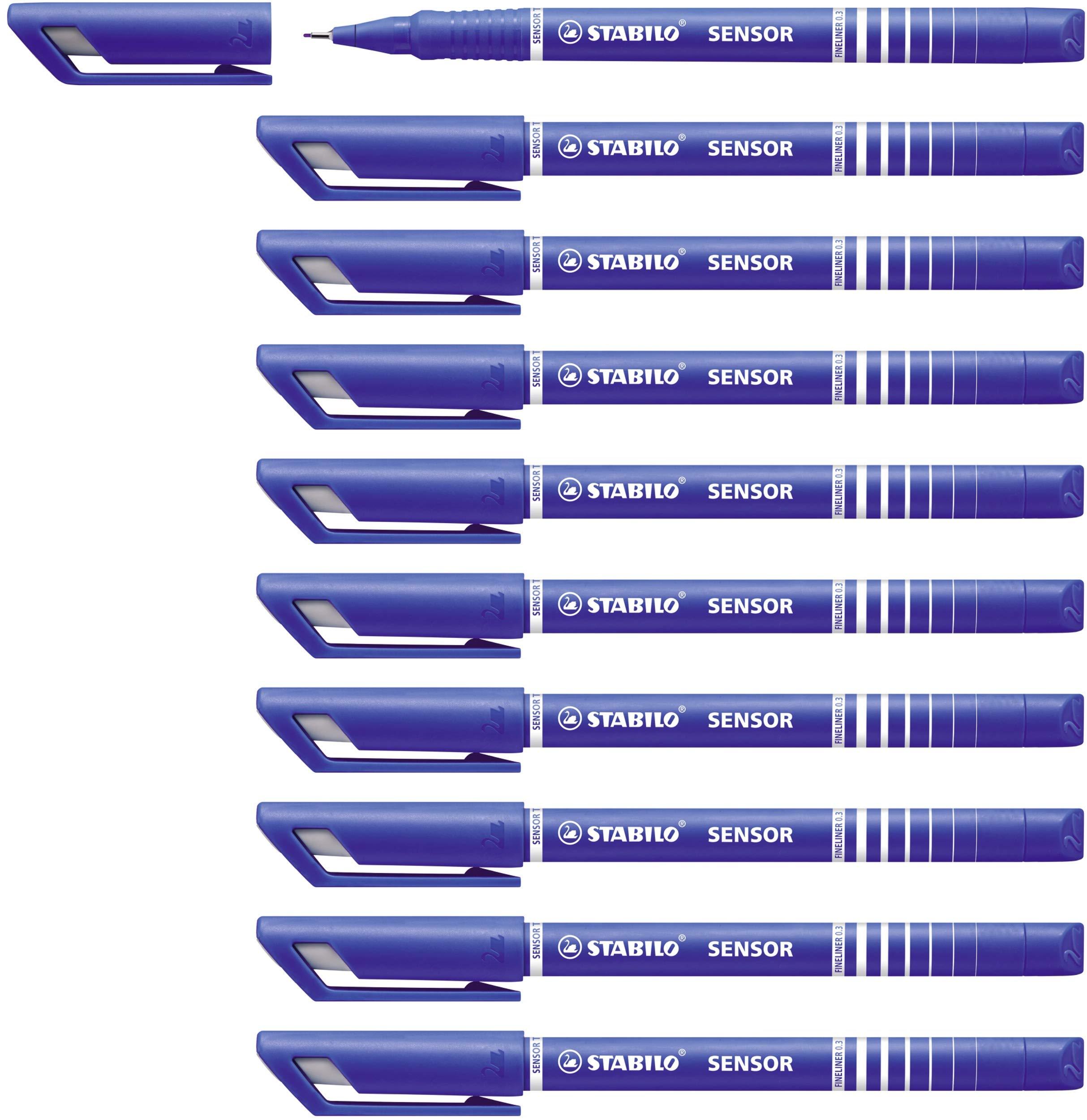 STABILO Sensor Fineliner - Blue, Box of 10 by STABILO