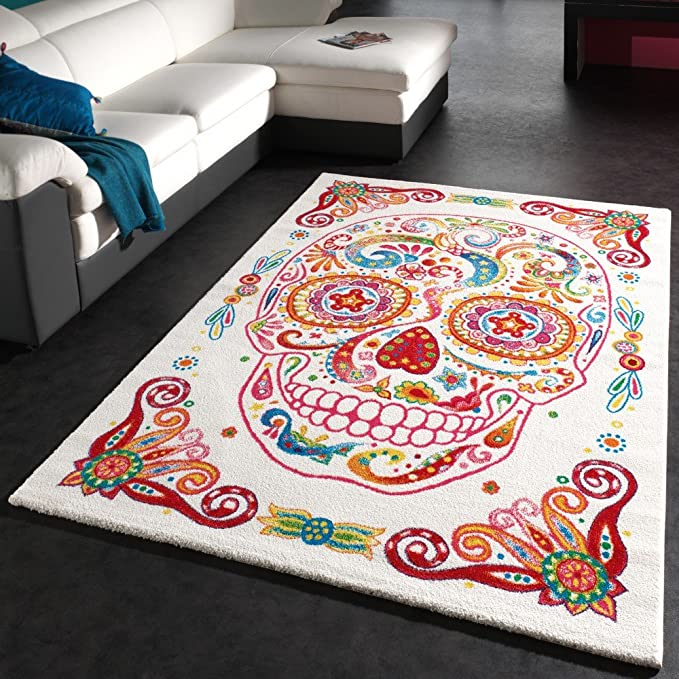 PHC Designer Carpet Modern Multicolour Tattoo Style Mexican Skull ...