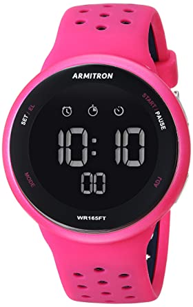 Armitron Sport Unisex 40/8423MAG Navy Blue Accented Digital Chronograph Magenta Silicone Strap Watch