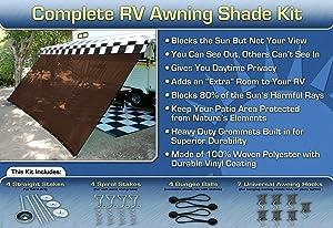 RV Awning Shade Motorhome Awning Screen Kit 10x16 (Brown)