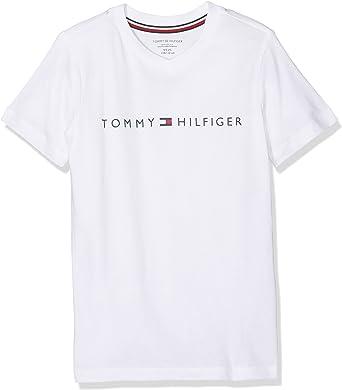 Tommy Hilfiger Sn tee SS Top de Pijama, Blanco (White 100), 122 (Talla del Fabricante: 6-7) para Niños: Amazon.es: Ropa y accesorios