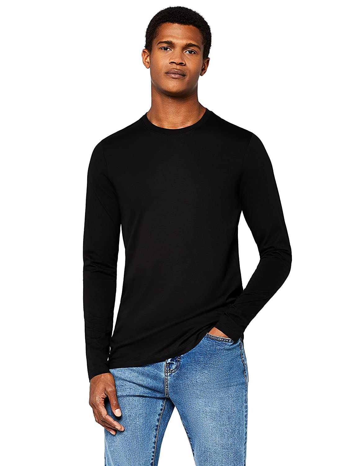 MERAKI Men's Slim Fit Crew Neck Long Sleeve T-Shirt AMM013_100