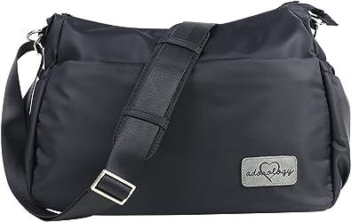 Purse Diaper Bag Black Nylon Changing Pad Insulated Crossbody Stroller Straps