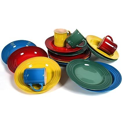 Le Creuset 16 Piece Mixed Primary Colors Stoneware Dinnerware Set Service for 4  sc 1 st  Amazon.com & Amazon.com | Le Creuset 16 Piece Mixed Primary Colors Stoneware ...