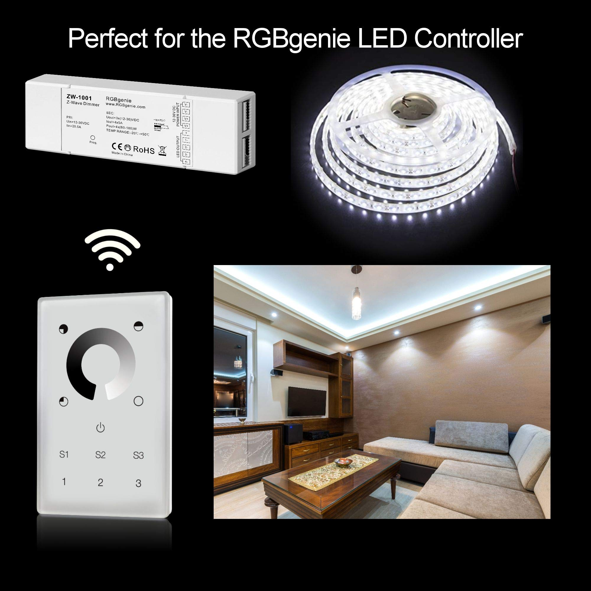Z-Wave Touch Panel Controller and Dimmer with Built-in Repeater. Can control up to 12 Z-Wave strip lights or bulbs. Single Color, 3 Zone, 3 Scene recall, 110v input. RGBgenie ZW-3001 (white) by RGBgenie (Image #7)
