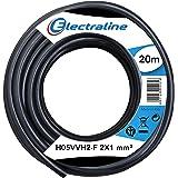Electraline 10984, Cable para Extensiones H05VVH2-F, Sección 2x1 mm, 20 m, Negro