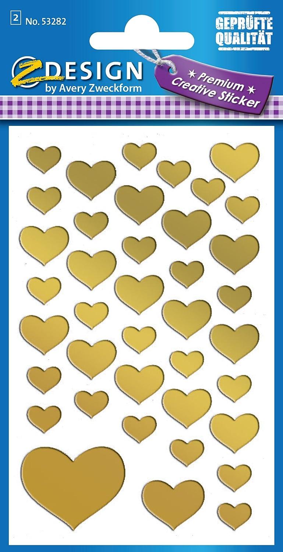 Avery Zweckform 4400/Pegatina Decorativa 114/Pegatinas color corazones dorado