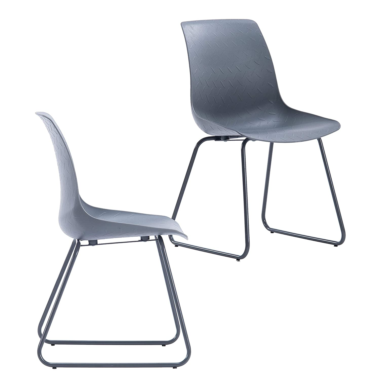 Porthos Home LVC004A Gry Modern Dining, Side or Desk Chair with Painted Finish Metal Sled Base, Easy Assembly, Monochromatic White or Gray,Set of 2 One Size Grey