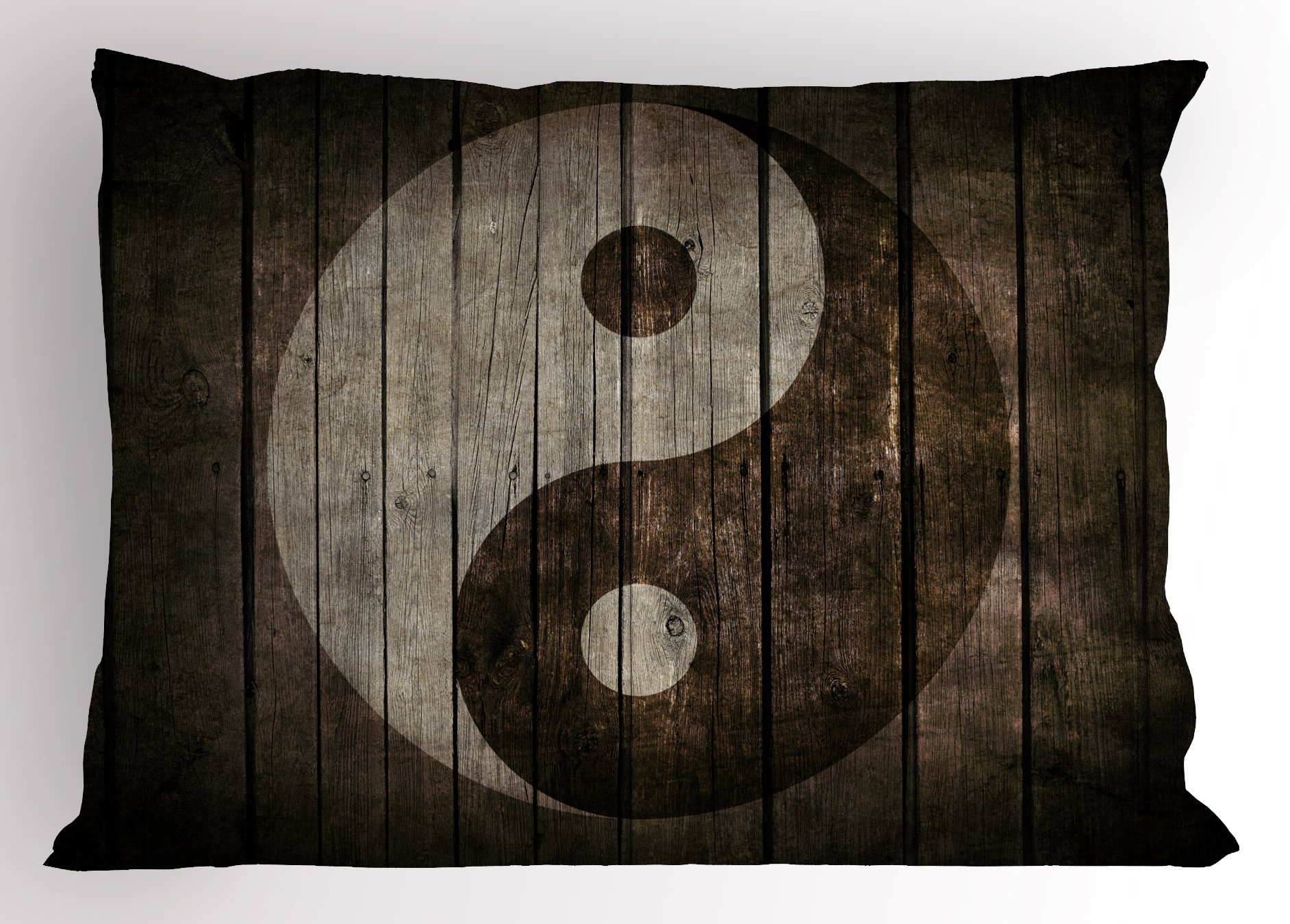 Lunarable Ying Yang Pillow Sham, Rustic Wood with Ying Yang Sign Art Grunge Design Zen Peace Balance Yoga Nature, Decorative Standard King Size Printed Pillowcase, 36 X 20 inches, Beige Brown
