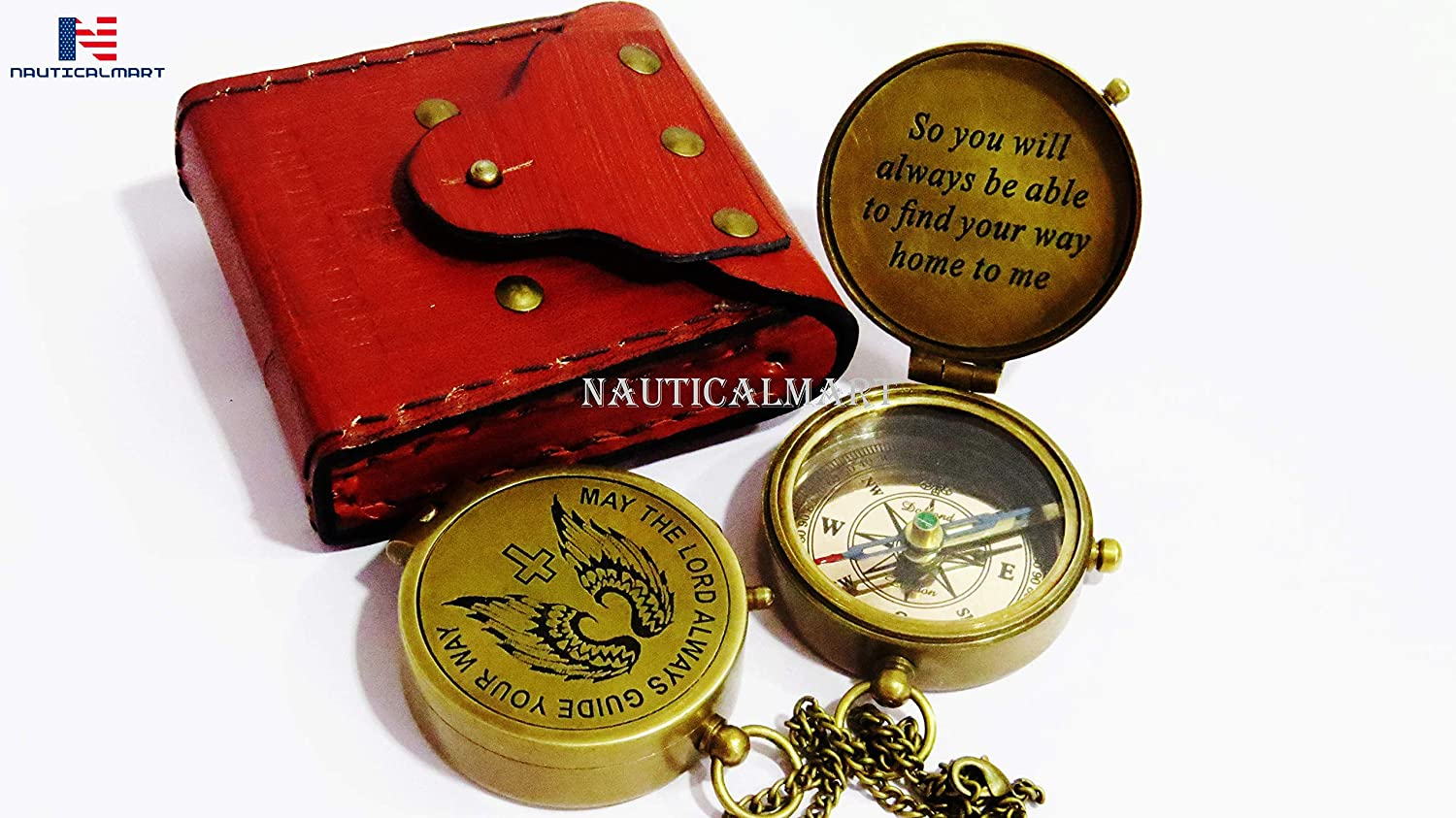 Missionary Birthday or Confirmation Gift Heavenly Gift of Faith The Perfect Baptism Gift NauticalMart Brass Compass God is My Guide Compass with Unique Leather Case