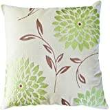 "Decorative chrysanthemum Flower Embroidery Floral Throw Pillow COVER 18"" Lime Green"