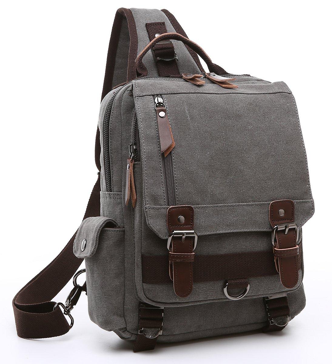 Collsants Canvas Sling Backpack Crossbody Messenger Bag Travel Shoulder Daypack (Gray)
