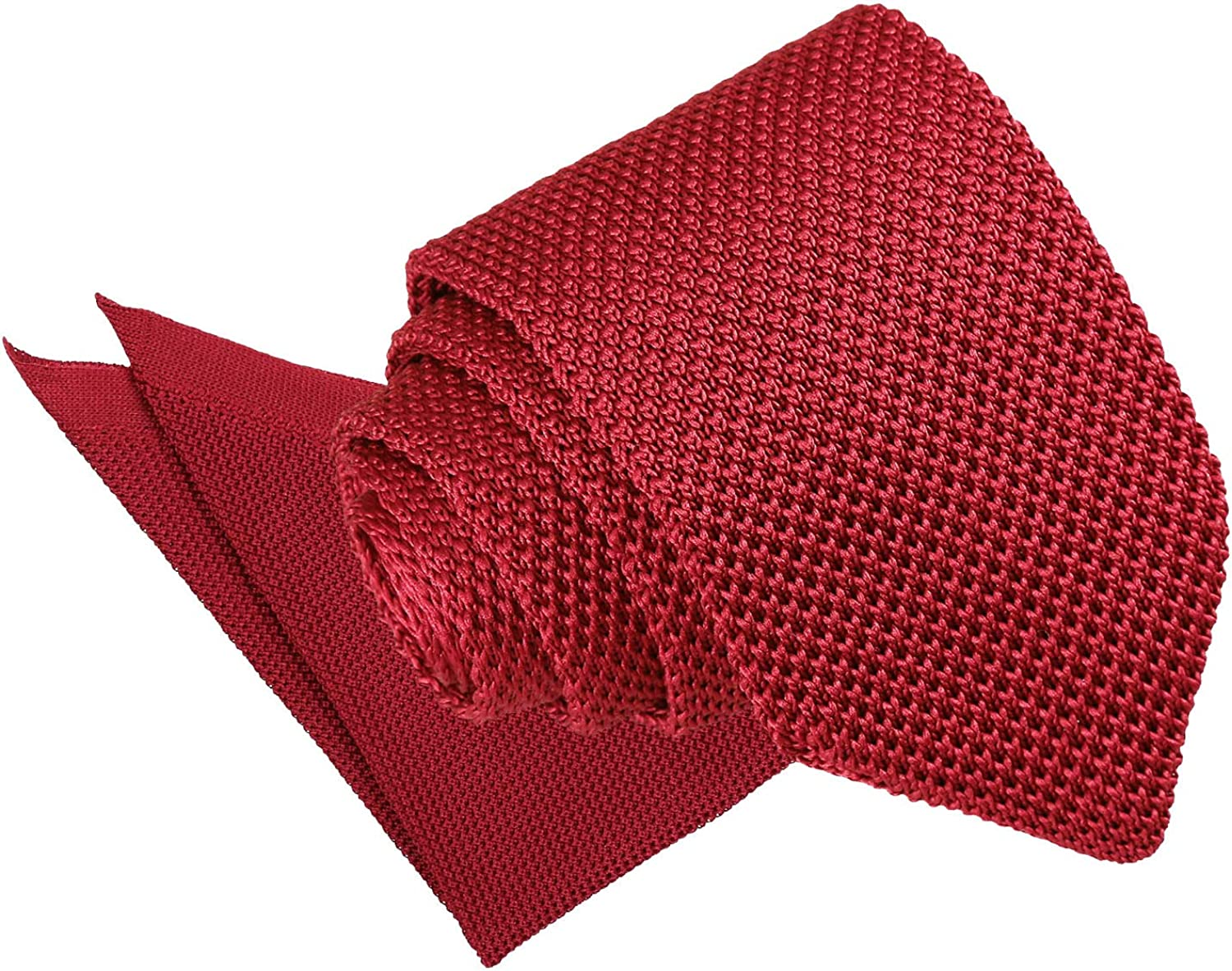 DQT Knit Knitted Plain Casual Modern Slim Neck Tie /& Pocket Square Set for Men