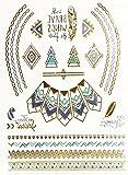 Planche Tattoo Tatouage Temporaire Métallique Body Art Ethnique - Argent/Or/Bleu - TY53