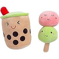 Pearhead Yappy Snacks Dog Toy Set, Boba Bubble Tea and Mochi Ice Cream Pet Toys, Set of 2