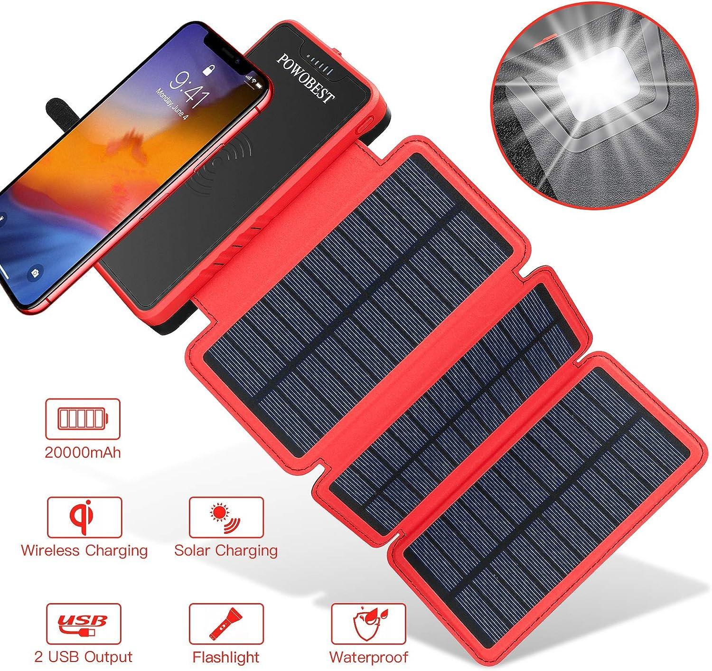 POWOBEST 20000mAh Solar Powerbank, Wireless Tragbare: Amazon