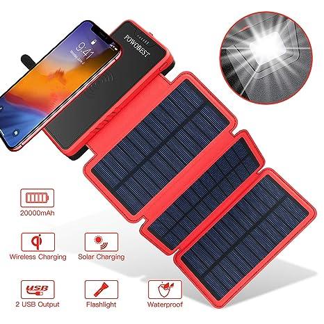 POWOBEST 20000mAh cargador solar, Wireless portátil Power ...