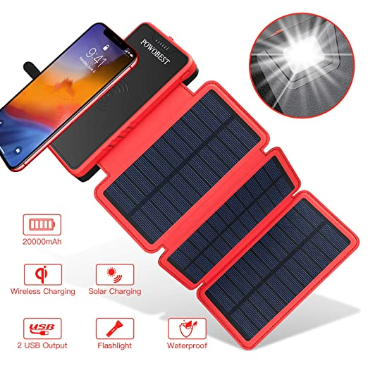 POWOBEST 20000mAh cargador solar, Wireless portátil Power ...