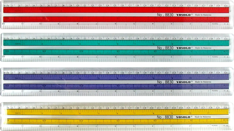 12 inch Premium Quality Transparent Plastic Ruler Pack of 12 Yosogo