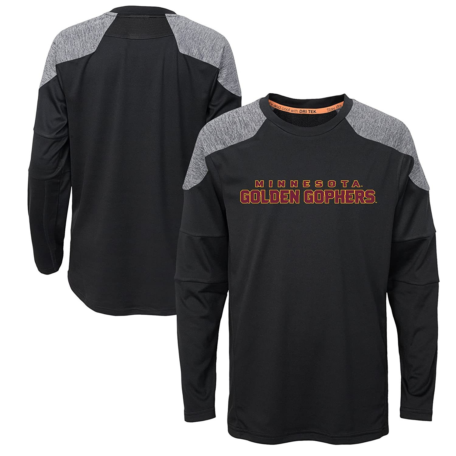 Youth Large NCAA Minnesota Golden Gophers Boys Outerstuff Gamma Long Sleeve Performance Tee Team Color 12-14