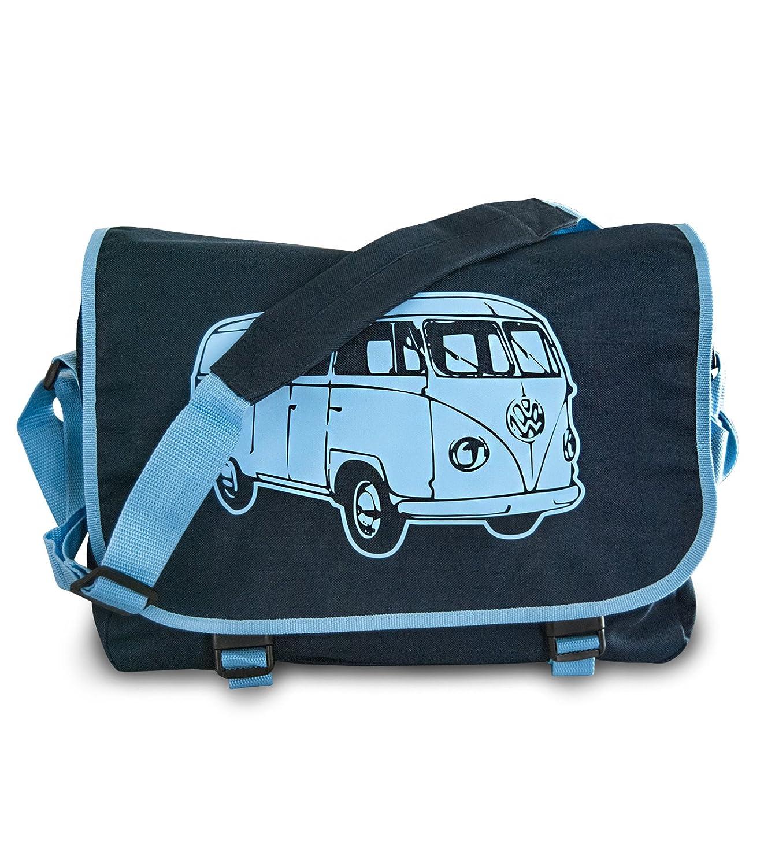 "Messenger Bag ""Bus"" Retro Schultertasche in Navy/Skyblue BG-21-001-NS"
