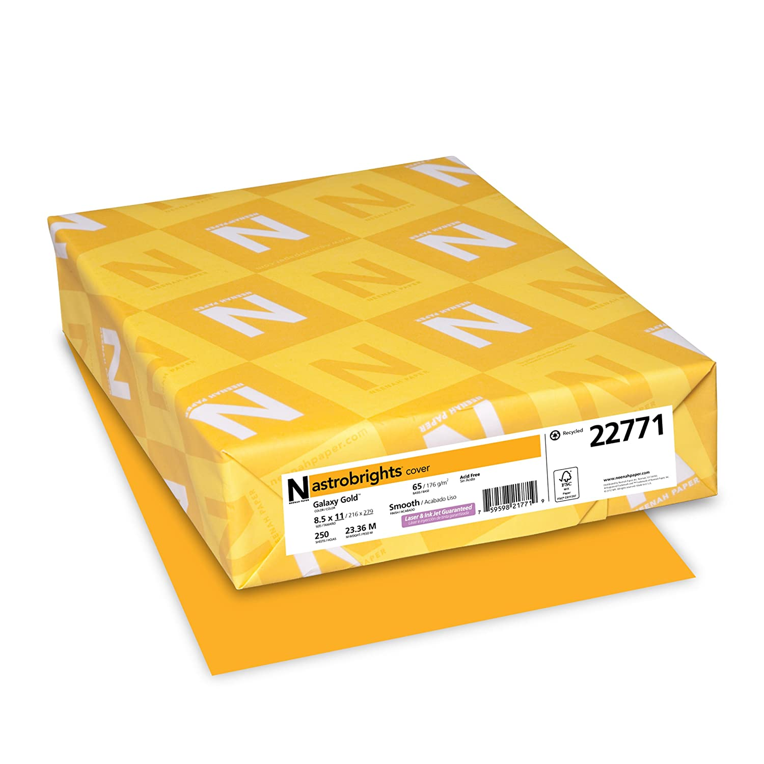Gold color cardstock paper - Amazon Com Astrobrights Color Paper 8 5 X 11 65 Lb Galaxy Gold 250 Sheets Cardstock Papers Office Products